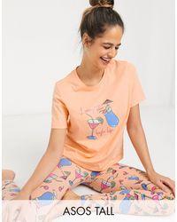 ASOS Asos Design Tall Exclusive Living The High Life Tee & legging Pyjama Set - Pink