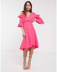Closet Wardrobe A-line Wrap Dress With Ruffle Sleeves - Pink