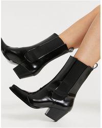 Monki - Черные Ботинки В Стиле Вестерн Из Искусственной Кожи С Квадратным Носком Lexi-черный Цвет - Lyst