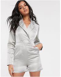 UNIQUE21 Ромпер-пиджак В Строгом Стиле С Блестящей Отделкой -зеленый - Серый