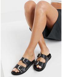 Vero Moda Черные Кожаные Сандалии С Пряжками На Ремешках -черный Цвет