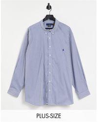 Polo Ralph Lauren - Рубашка В Темно-синюю И Белую Полоску Из Поплина С Логотипом В Виде Игрока В Поло Big & Tall-темно-синий - Lyst