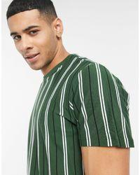 New Look - Темно-зеленая Oversized-футболка В Вертикальную Полоску -зеленый Цвет - Lyst