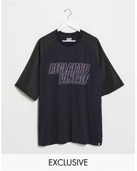 Reclaimed (vintage) Inspired - T-shirt Met Raglanmouwen En Logoprint - Zwart
