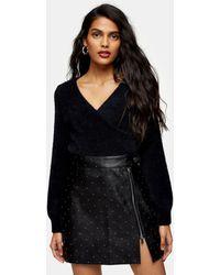 TOPSHOP - Faux Leather Pin Stud Mini Skirt - Lyst