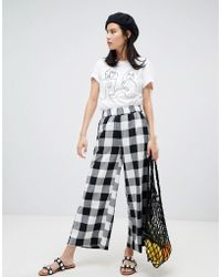 Monki - Check Cropped Trousers - Lyst