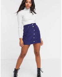 ASOS Cord Button Through Skirt - Blue
