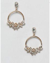 Lipsy - Statement Jewelled Hoop Earrings In Gold - Lyst