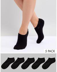 Monki Confezione da 5 calzini sportivi neri - Nero