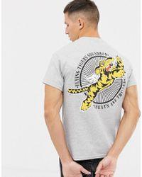 Cheats & Thieves Camiseta con estampado te tigre volador en la parte posterior - Gris