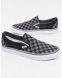Vans Slip-on - Instapsneakers Met Schaakbordprint - Grijs