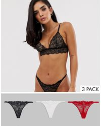 ASOS 3 Pack Tanga Side Lace Thong - Multicolor