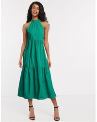 Vila Tiered Midi Dress With Halterneck - Green