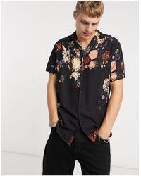 Criminal Damage Camisa con estampado floral - Negro