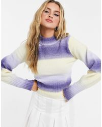 Monki Quinn Knit Jumper With Blue Stripes