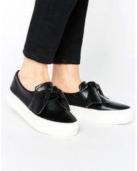 Pull&Bear - Leather Look Knot Flatform Sneaker - Lyst