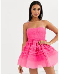 LACE & BEADS Структурированное Платье Мини Из Тюля Яркого Цвета Фуксии С Боди -розовый
