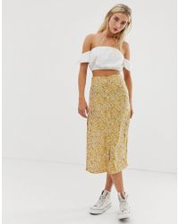 Daisy Street Button Through Midi Skirt - Yellow