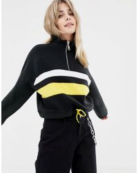 The Ragged Priest - Cropped Funnel Neck Fleece With Half Zip - Lyst