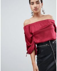 AX Paris - Ruched Sleeve Top - Lyst