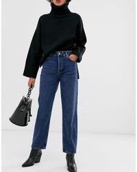 SELECTED Femme - Jean droit taille haute - délavé - Bleu