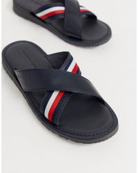 Tommy Hilfiger Leather Cross Over Sliders With Icon Stripe Detail In Black