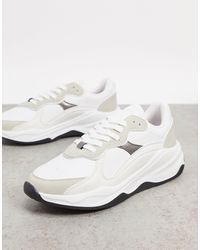 Stradivarius Mixed Panel Trainer With Contrast Sole - White