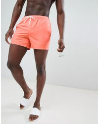ASOS - Swim Shorts In Bright Orange Short Length - Lyst