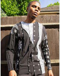 Jaded London Cut And Sew Paisley Long Sleeve Top - Black