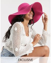 South Beach Exclusive Oversized Straw Hat - Pink