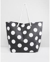 South Beach | Dotted Tote Bag With Rope Handle | Lyst