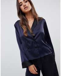ASOS - Double Breasted Contrast Satin Pyjama Shirt - Lyst