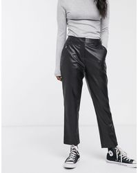 Oasis Faux Leather Cigarette Trousers - Black