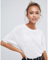 Bershka - Plisse Tshirt In White - Lyst