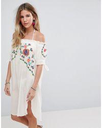 Liquorish - Off Shoulder Beach Dress - Lyst