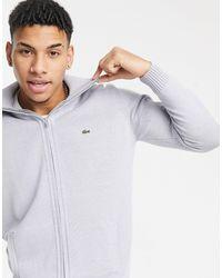 Lacoste Mens Full Zip Sweater - Gray