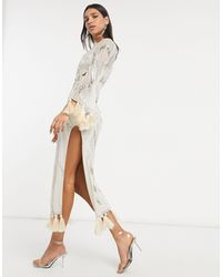 ASOS Embellished Maxi Dress With Cut Out And Tassle Detail - Natural