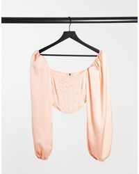 Missguided Corset Top With Balloon Sleeve - Pink