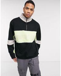 Mennace Half Zip Overhead Sweatshirt With Repeat Logo - Black