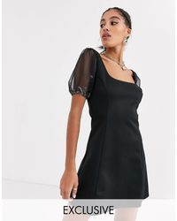 Another Reason Square Neck Mini Dress With Organza Puff Sleeves - Black