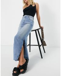 TOPSHOP Re-done Maxi Skirt - Blue