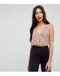 ASOS - Cami Body In Sequin Embellishment With Back Strap - Lyst