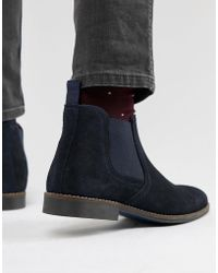 Red Tape Stockwood Chelsea Boots In Navy Suede - Blue