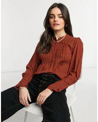 SELECTED Красная Блузка С Высоким Воротом И Отделкой Линейными Защипами -красный - Многоцветный