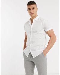 TOPMAN Белая Зауженная Рубашка С Короткими Рукавами -белый