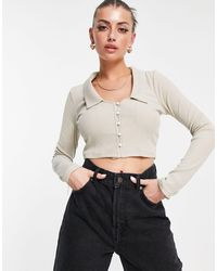 Fashion Union Cropped Cardigan With Open Collar - Multicolour