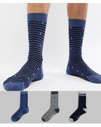 Ben Sherman 3 Pack Patterned Sock - Blue