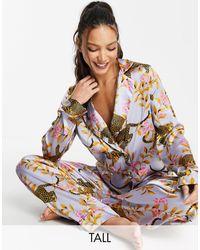 ASOS Сиреневый Эксклюзивный Комплект Атласной Пижамы С Принтом - Пурпурный