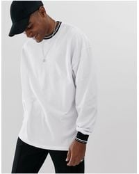ASOS Pique Oversized Long Sleeve T-shirt With Tipping - White
