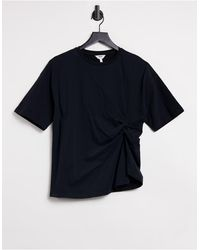 Object T-shirt With Ruching - Black
